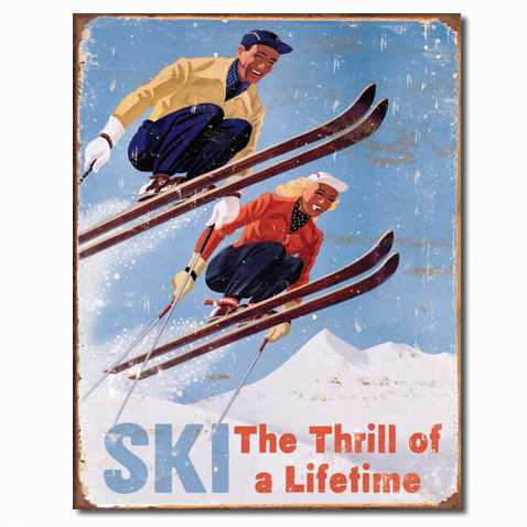 SKI RETRO TIN SIGN