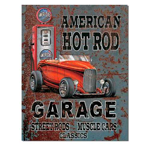 american hot rod garage tin sign mainly nostalgic retro tin signs more. Black Bedroom Furniture Sets. Home Design Ideas
