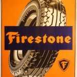 FIRESTONE RETRO TIN SIGN, AGED TO MAKE IT LOOK OLD.