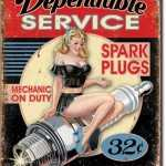 SPARK PLUGS, MECHANIC ON DUTY TIN SIGN