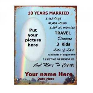 10th Wedding Anniversary Tin Sign   Mainly Nostalgic ...