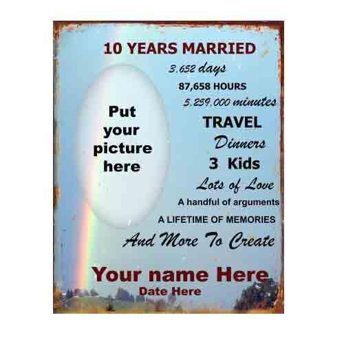 10th Wedding Anniversary Tin Sign