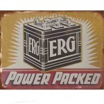 AUTOMOTIVE TIN SIGN ERG BATTERY POWER PACKED