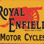 VINTAGE MOTORCYCLE TIN SIGN ENFIELD MADE LIKE A GUN