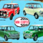 MINI COOPER THROUGH THE YEARS RETRO TIN SIGN