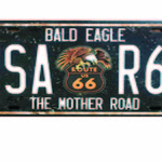 ROUTE 66 MOTHER ROAD NUMBER PLATE TIN SIGN