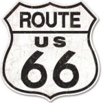 ROUTE 66 PRESSED AGED TIN SIGN