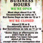 RETRO TIN SIGN BUSINESS HOURS.