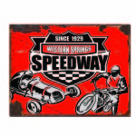 MOTOR RACING SINCE 1929 WESTERN SPRINGS SPEEDWAY TIN SIGN.
