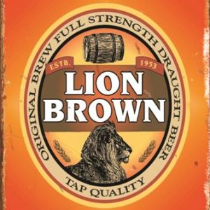 Lion Brown Tin Sign  Measures 320mm x 405mm