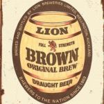 Lion Brown Barrel Tin Sign  Measures 305mm x 420mm